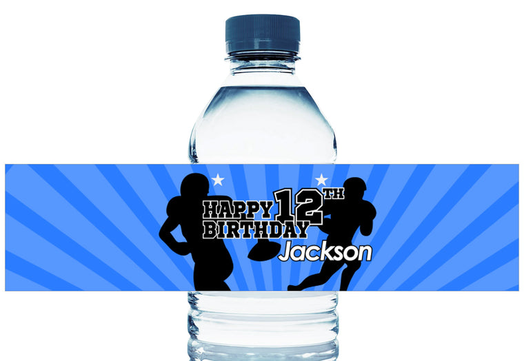 Football Stars Silhouette Boy Birthday Personalized Water Bottle Labels