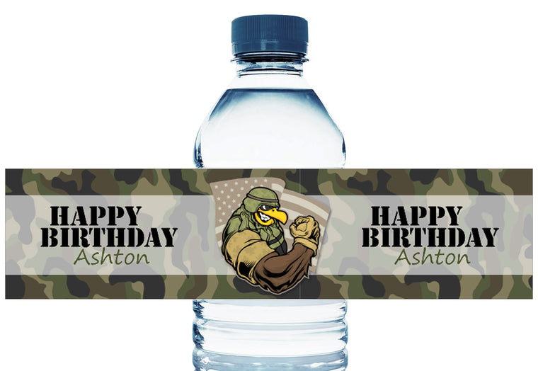 Military Eagle Camo Boy Birthday Personalized Water Bottle Labels