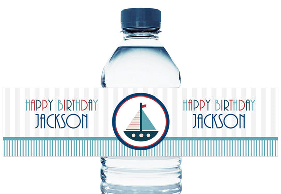 Nautical Sailboat Boy Birthday Personalized Water Bottle Labels
