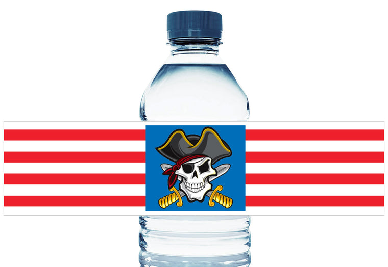 Pirate Party Boy Birthday Personalized Water Bottle Labels
