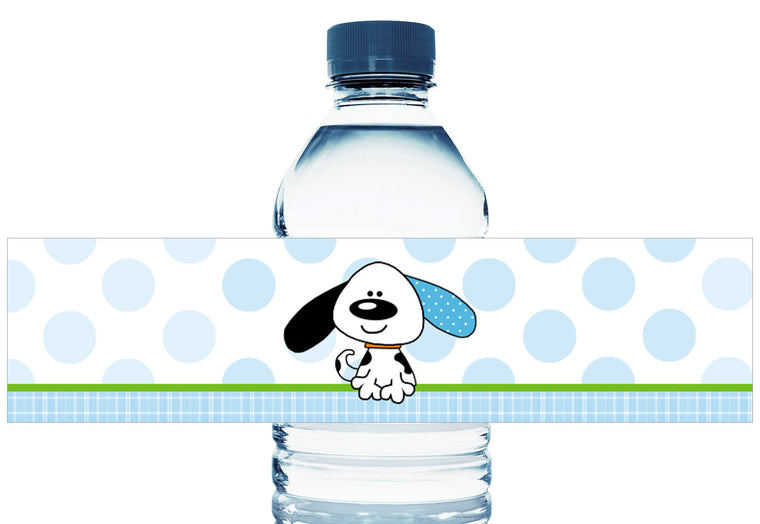 Puppy Dots Boy Birthday Personalized Water Bottle Labels