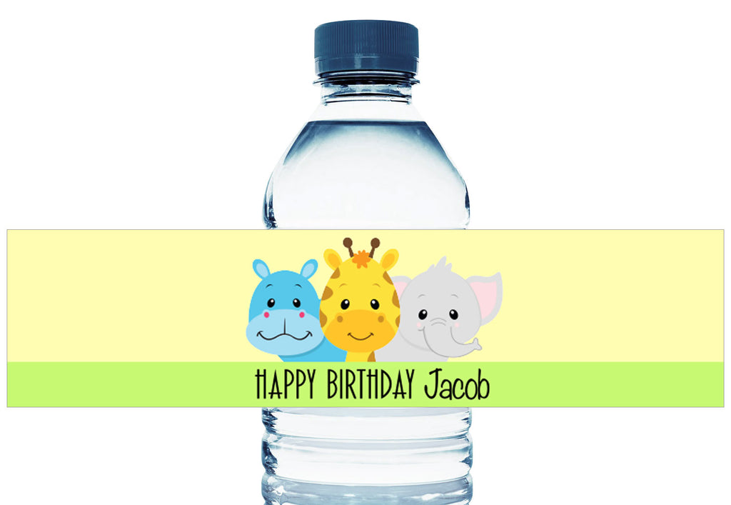Safari Animals Boy Birthday Personalized Water Bottle Labels