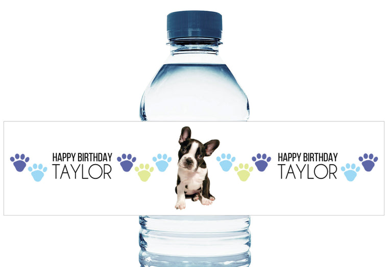 The Dog Boy Birthday Personalized Water Bottle Labels