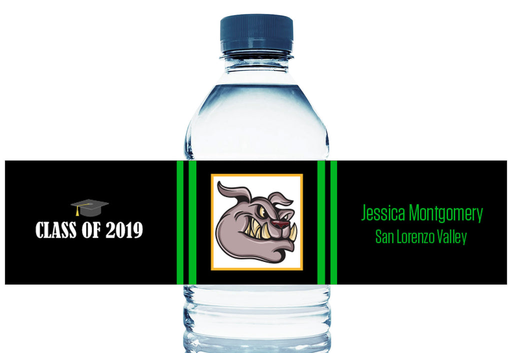 Bulldog or Your Class Mascot Personalized Graduation Water Bottle Labels