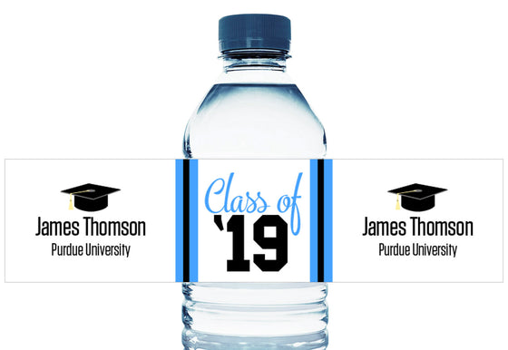 Class of '19 Personalized School Graduation Water Bottle Labels