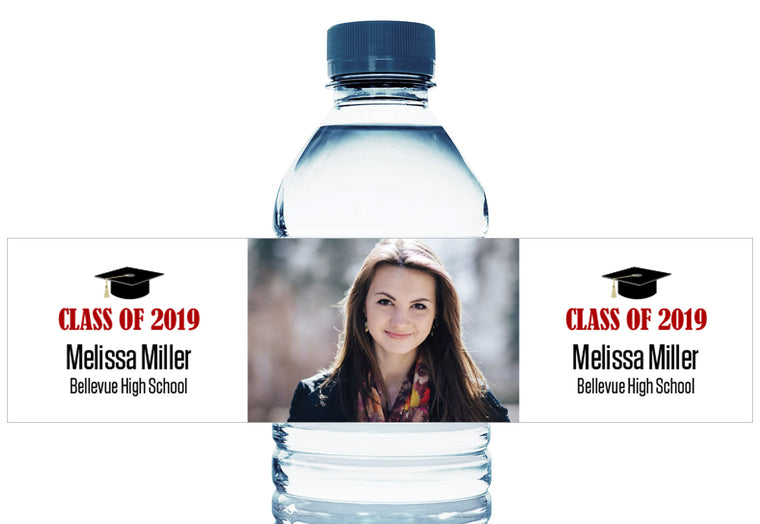 Grad Cap with Photo Personalized School Graduation Water Bottle Labels