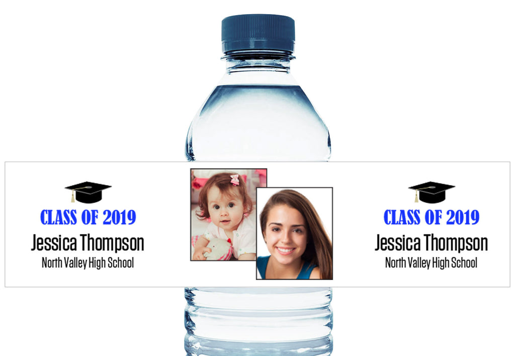 Then and Now Photo Personalized School Graduation Water Bottle Labels