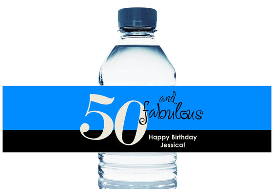 50 and Fabulous, any age, Personalized Birthday Water Bottle Labels