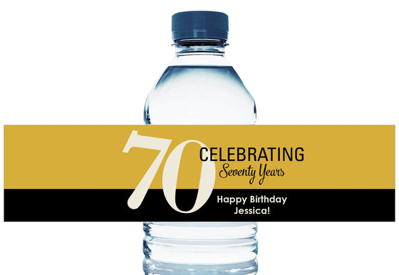 Celebrating 60, 70, 80, 90, any age, Personalized Birthday Water Bottle Labels