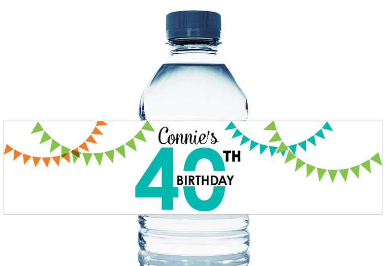 Banner Personalized Adult Birthday Water Bottle Labels