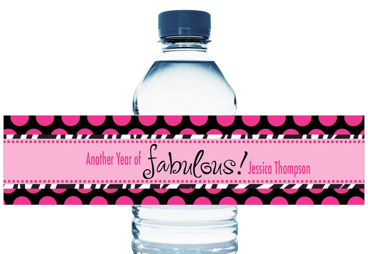 Another Year of Fabulous Personalized Adult Birthday Water Bottle Labels
