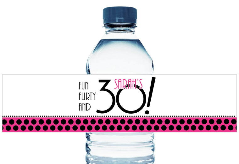 Fun Flirty and 30, 40, 50, any year, Personalized Adult Birthday Water Bottle Labels