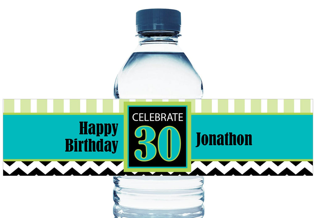 Celebrate 30, 40 50, any age, Personalized Adult Birthday Water Bottle Labels