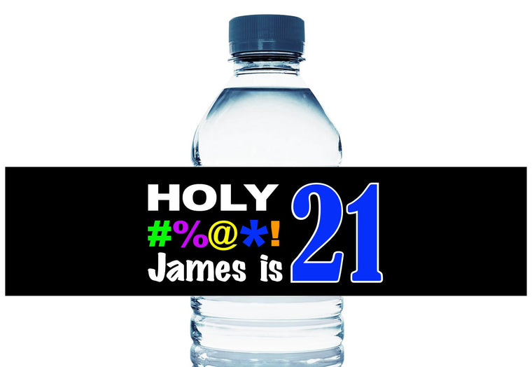 Holy Bleep Personalized Adult Birthday Water Bottle Labels