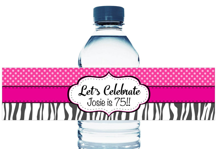 Let's Celebrate Personalized Adult Birthday Water Bottle Labels