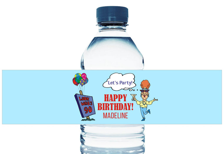 Old Lady Personalized Adult Birthday Water Bottle Labels