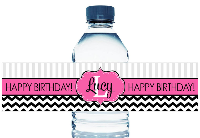 Monogram Personalized Adult Birthday Water Bottle Labels