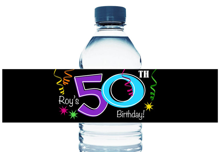 Confetti, any age, Personalized Adult Birthday Water Bottle Labels