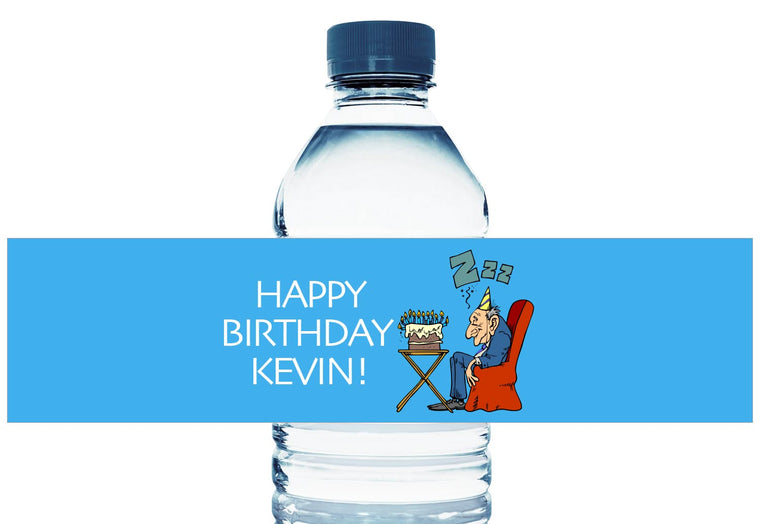 Old Man Sleeping Personalized Adult Birthday Water Bottle Labels