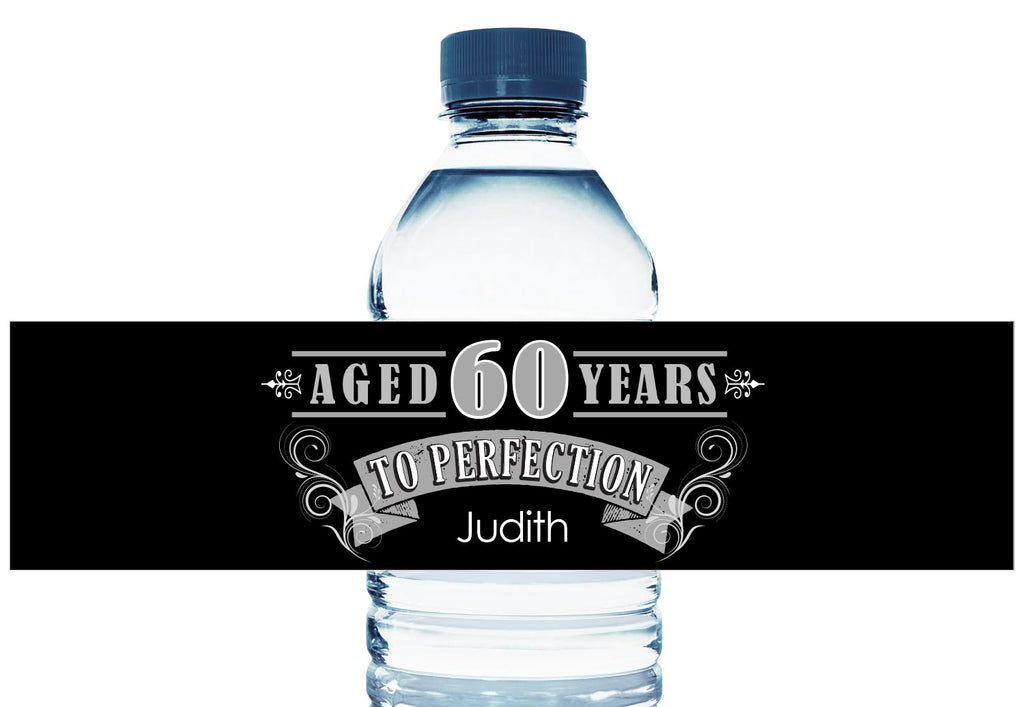 Aged to Perfection Personalized Adult Birthday Water Bottle Labels