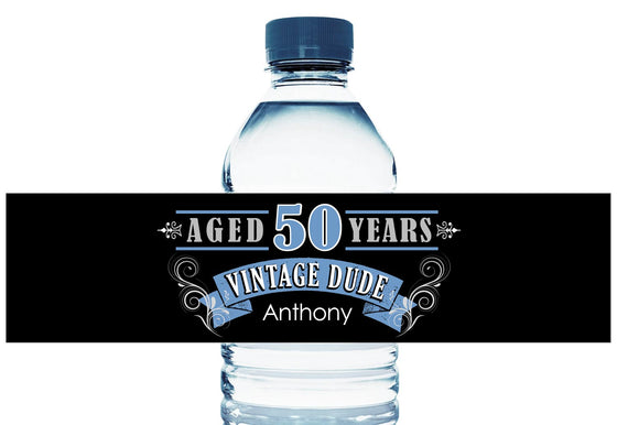 Vintage Dude Personalized Adult Birthday Water Bottle Labels