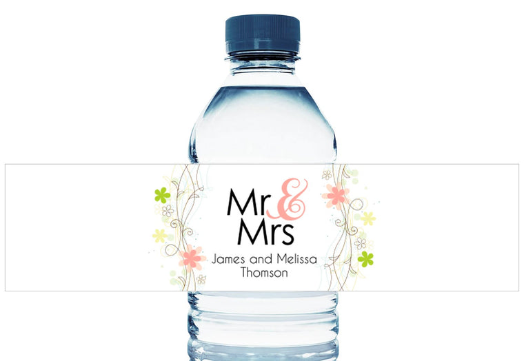 Soft Floral Personalized Wedding Water Bottle Labels
