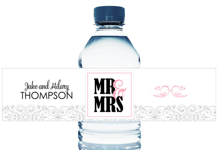 Mr and Mrs Love Birds Personalized Wedding Water Bottle Labels