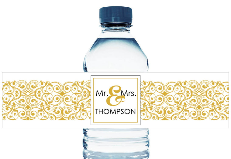 Paisley Banner Personalized Wedding Water Bottle Labels
