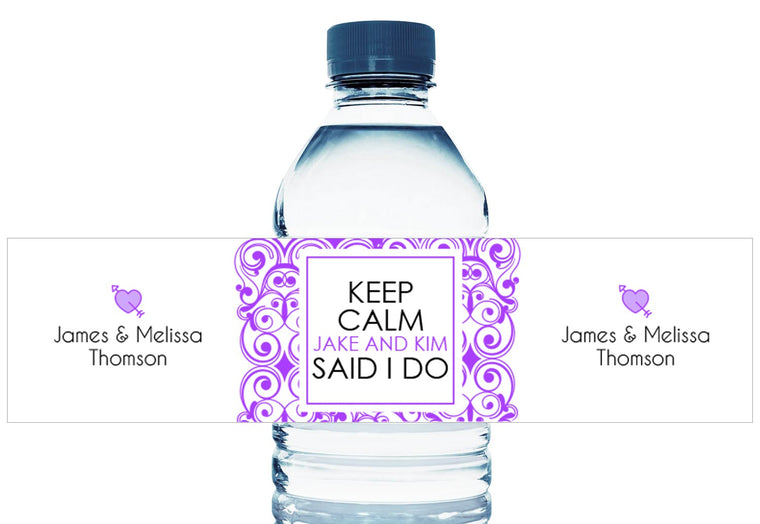 Keep Calm They Said I Do Personalized Wedding Water Bottle Labels