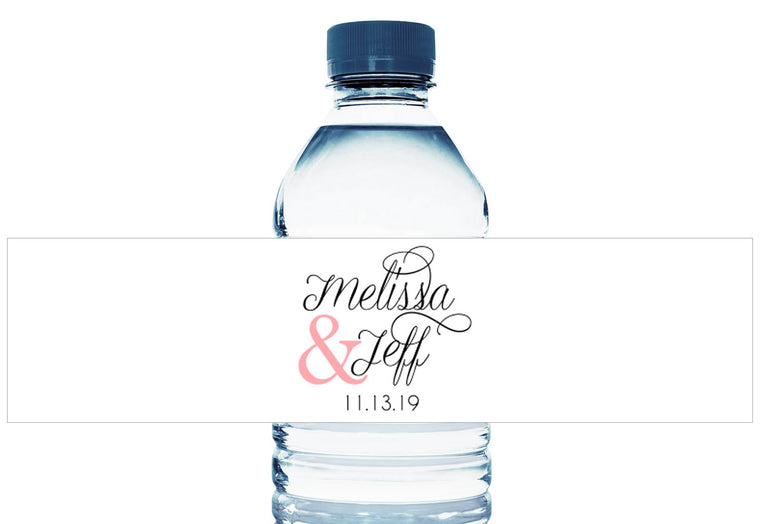 Script Personalized Wedding Water Bottle Labels