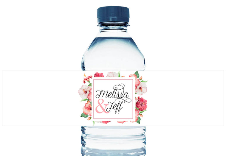 Red Floral Personalized Wedding Water Bottle Labels