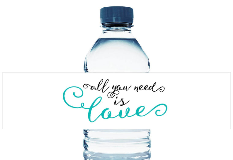 All You Need is Love Personalized Wedding Water Bottle Labels