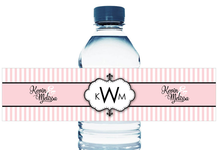 Monogram Pink Stripes Personalized Wedding Water Bottle Labels