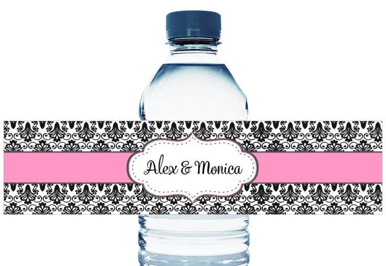 Paisley Black and Pink Personalized Wedding Water Bottle Labels
