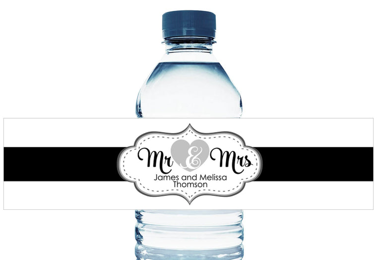 Mr and Mrs Personalized Wedding Water Bottle Labels