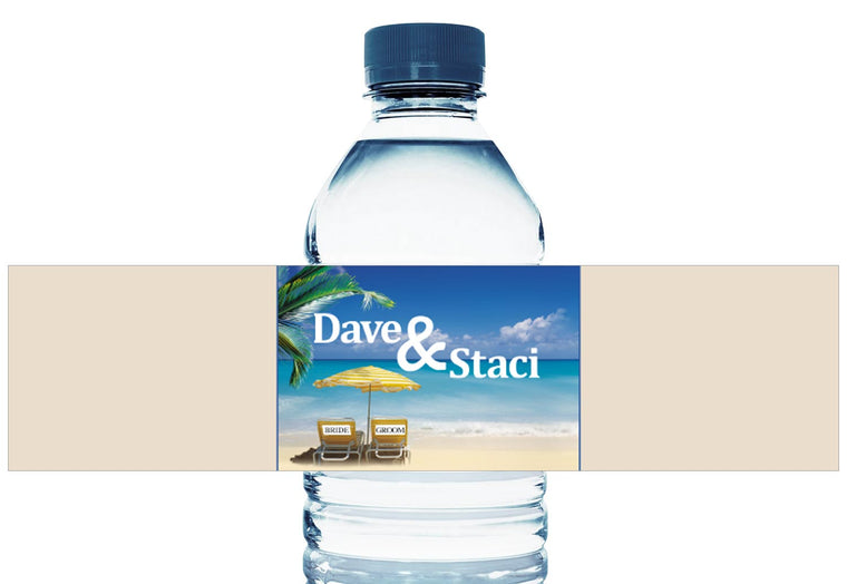 Beach Bride and Groom Personalized Wedding Water Bottle Labels