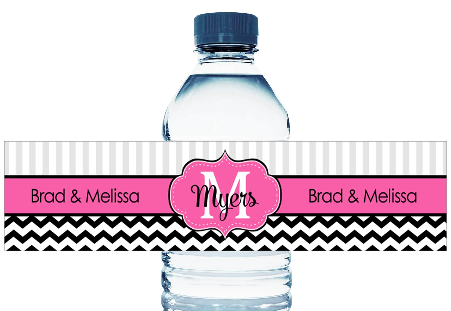 Wedding Water Bottle Labels.Monogram Pink And Black Chevron Wedding Water Bottle Labels