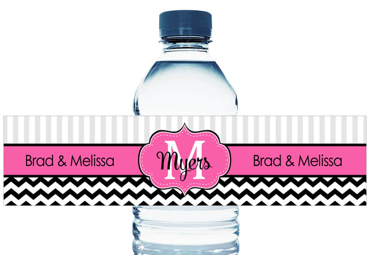 Monogram Pink and Black Chevron Wedding Water Bottle Labels