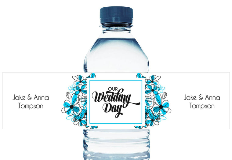 Blue Floral Personalized Wedding Water Bottle Labels