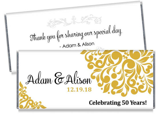 Elegant Floral 50th, any year, Wedding Anniversary Candy Bar Wrappers