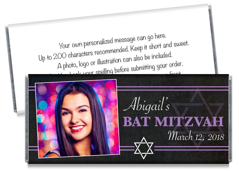 Bat Mitzvah Photo Candy Bar Wrappers