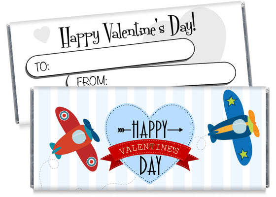 Airplanes Valentine's Day Candy Bar Wrappers