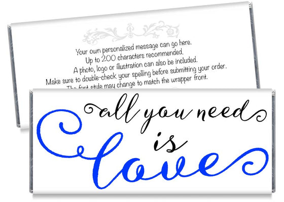 Blue All You Need is Love Wedding Candy Bar Wrappers
