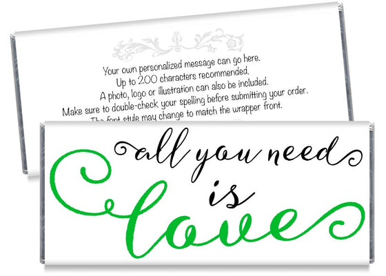 Green All You Need is Love Wedding Candy Bar Wrappers