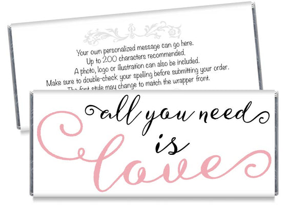 Pink All You Need is Love Wedding Candy Bar Wrappers