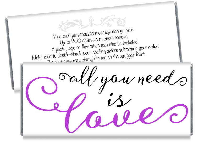 All You Need is Love Wedding Candy Bar Wrappers