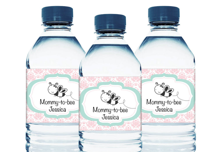 Mommy-to-Bee Personalized Girl Baby Shower Water Bottle Sticker Labels