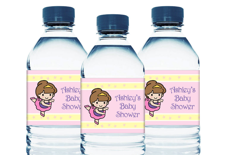 Ballet Personalized Girl Baby Shower Water Bottle Sticker Labels