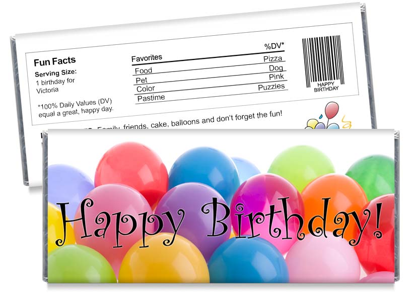 Balloons Birthday Party Candy Bar Wrappers