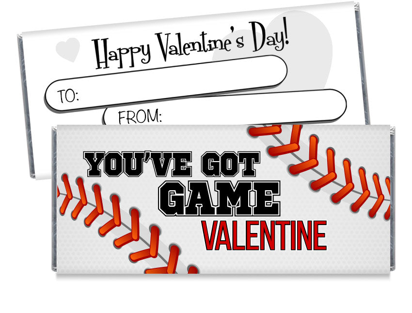 Baseball Valentine's Day Candy Bar Wrappers